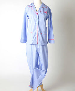 Women's poplin cotton pajama top and pants with scallop trim and monogram