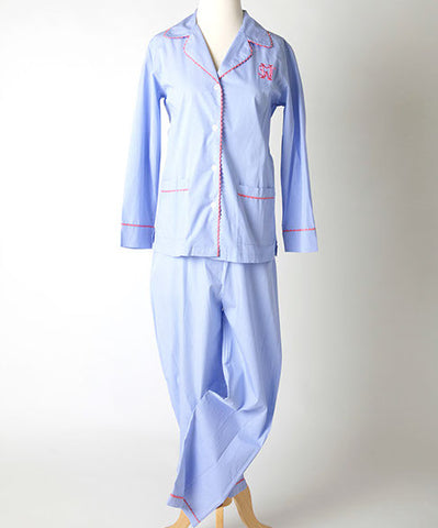 Ellis Hill women's poplin cotton pajama top and pants with scallop trim and monogram