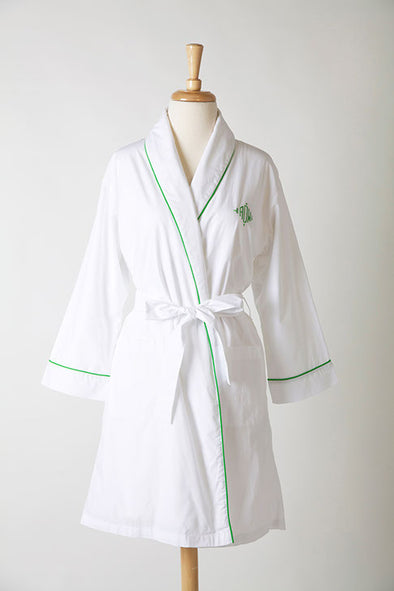 Ellis Hill women's short poplin robe with monogram