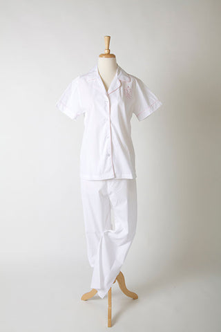Women's monogram poplin cotton, short-sleeve pajama set