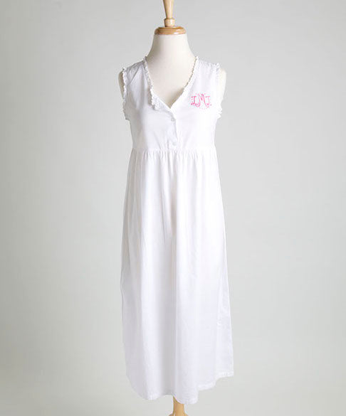 Women's poplin cotton, sleeveless eyelet nightie with monogram, button detail, and gathered waist