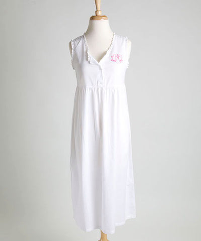 Ellis Hill women's poplin cotton, sleeveless eyelet nightie with monogram