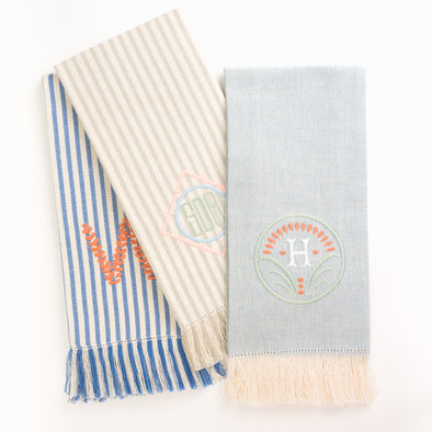 Ellis Hill Linen Fringe Towels - Monogram - Monogrammed - Personalized