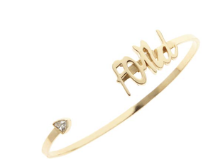 Adore cuff bracelet, available in 14K white, yellow, or rose gold, custom monogram