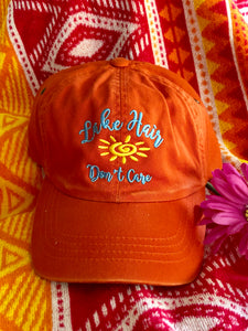 """Lake Hair Don't Care"" Distressed Twill Cap"