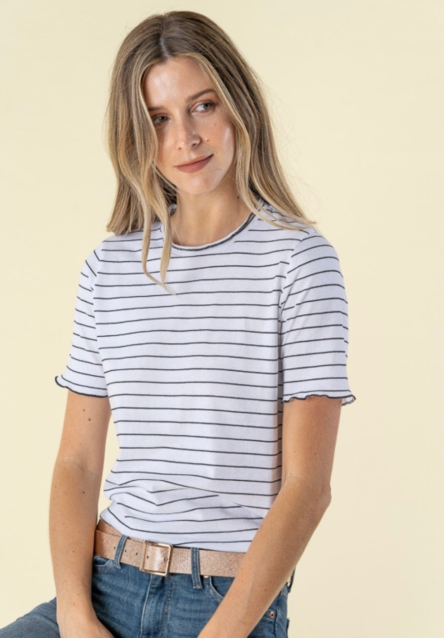 Ruffles Neck Striped Top
