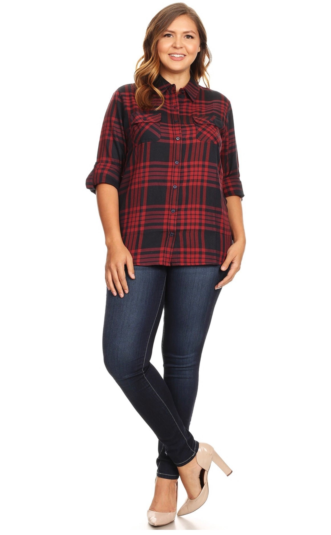 Plaid Navy/Deep Red Woven Top