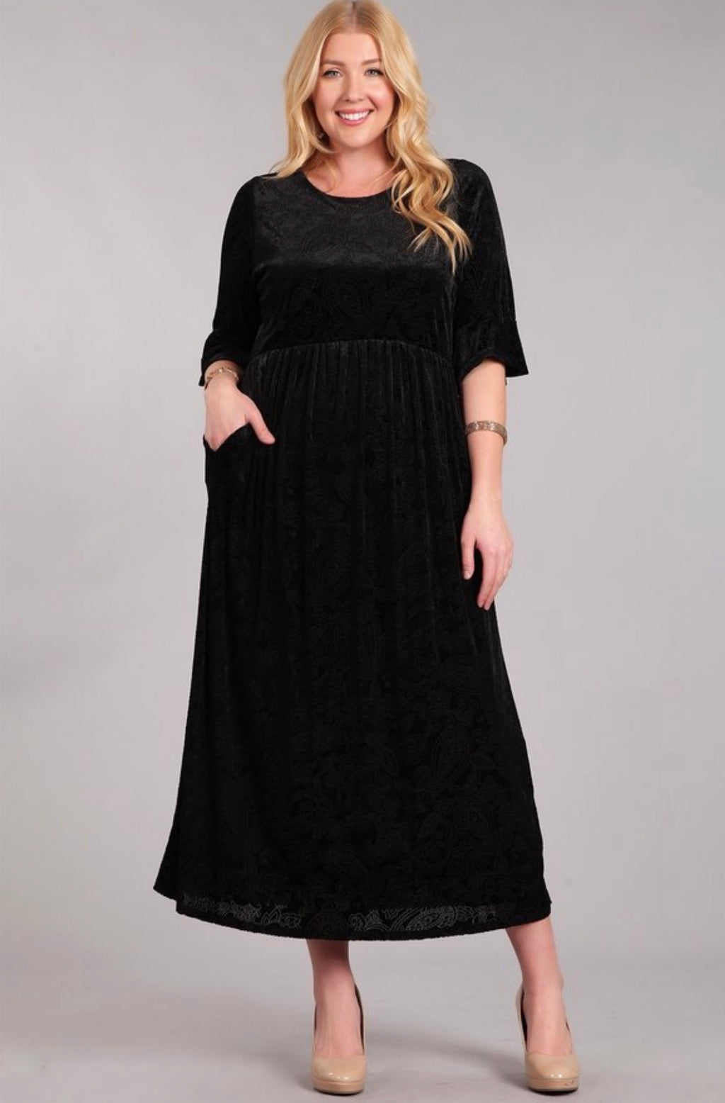 Black Burnout Velvet Dress