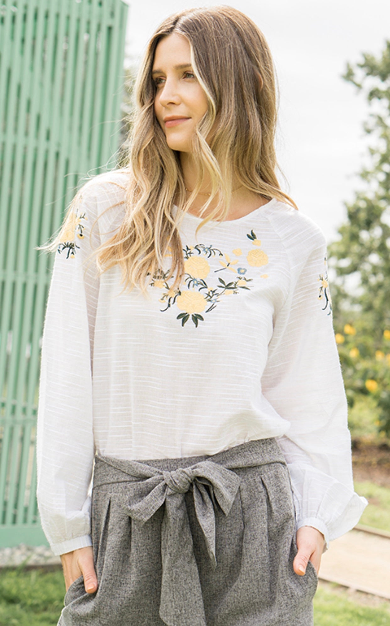 Light Oatmeal Embroidered Detail Top
