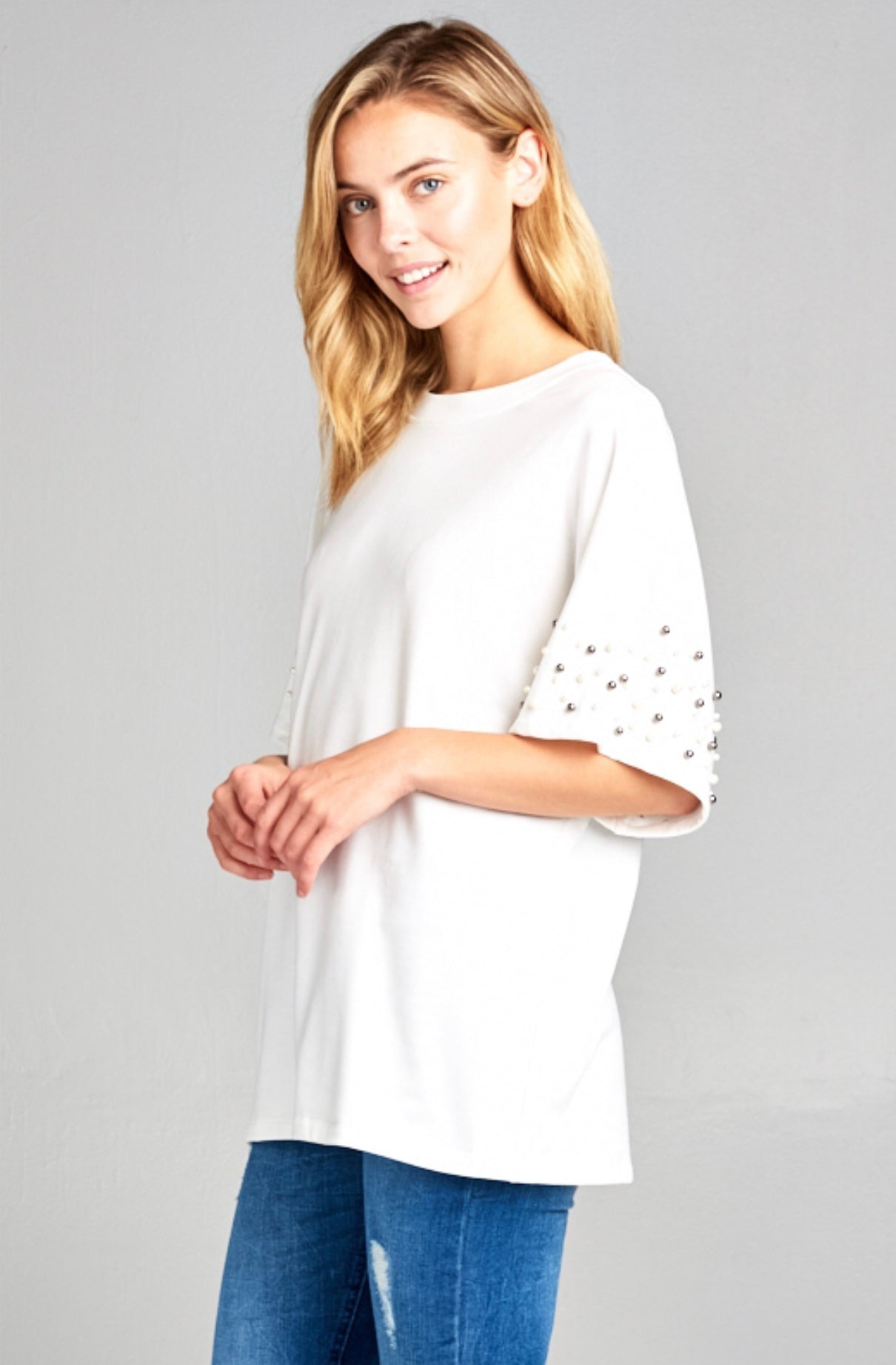 Ivory Short Sleeve Lightweight Sweat with Faux Pearls
