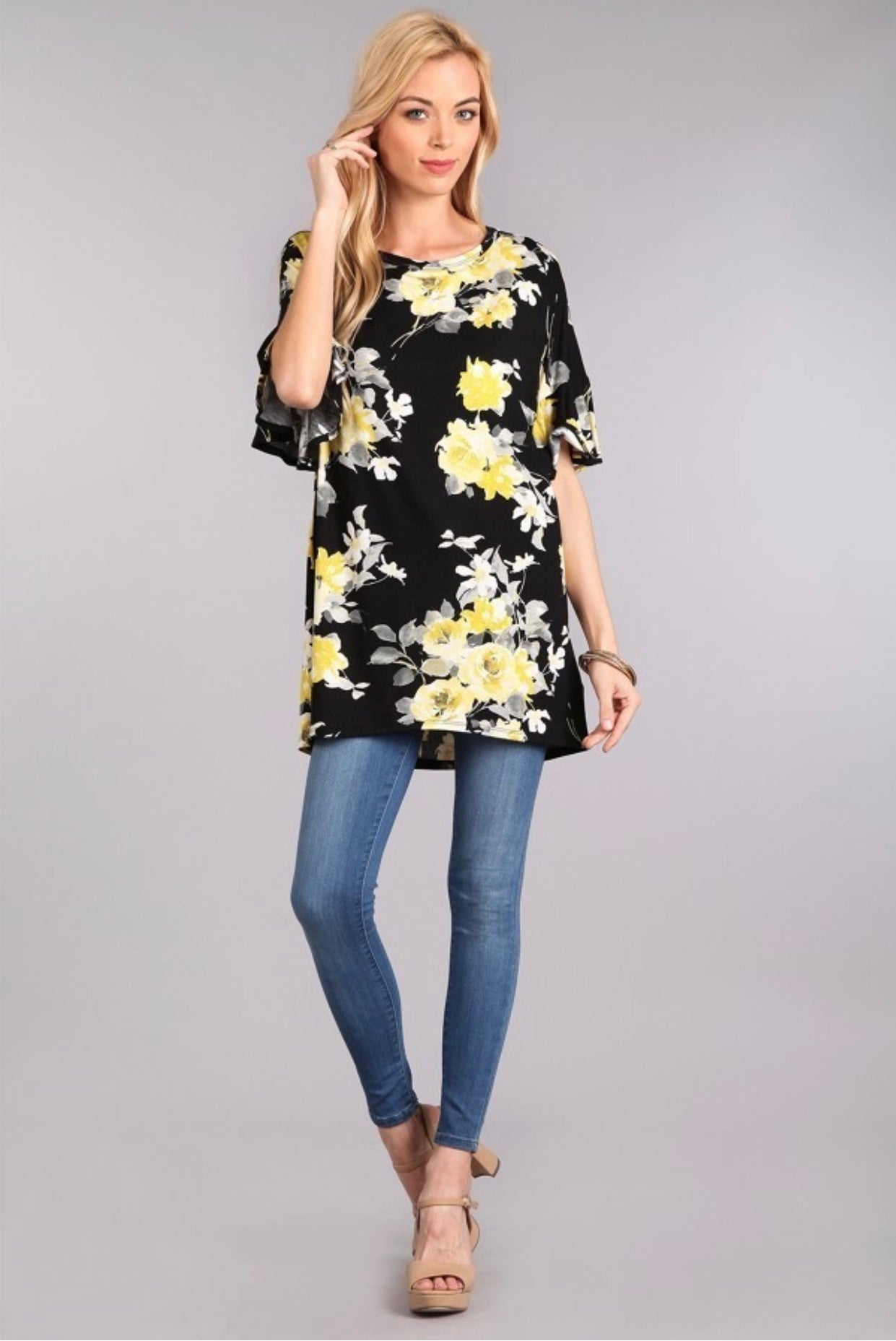 Floral Printed Ruffle Sleeve Top