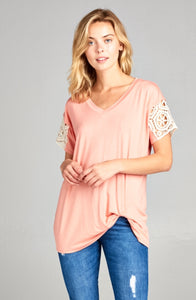 Coral Lace Sleeve with Front Twist