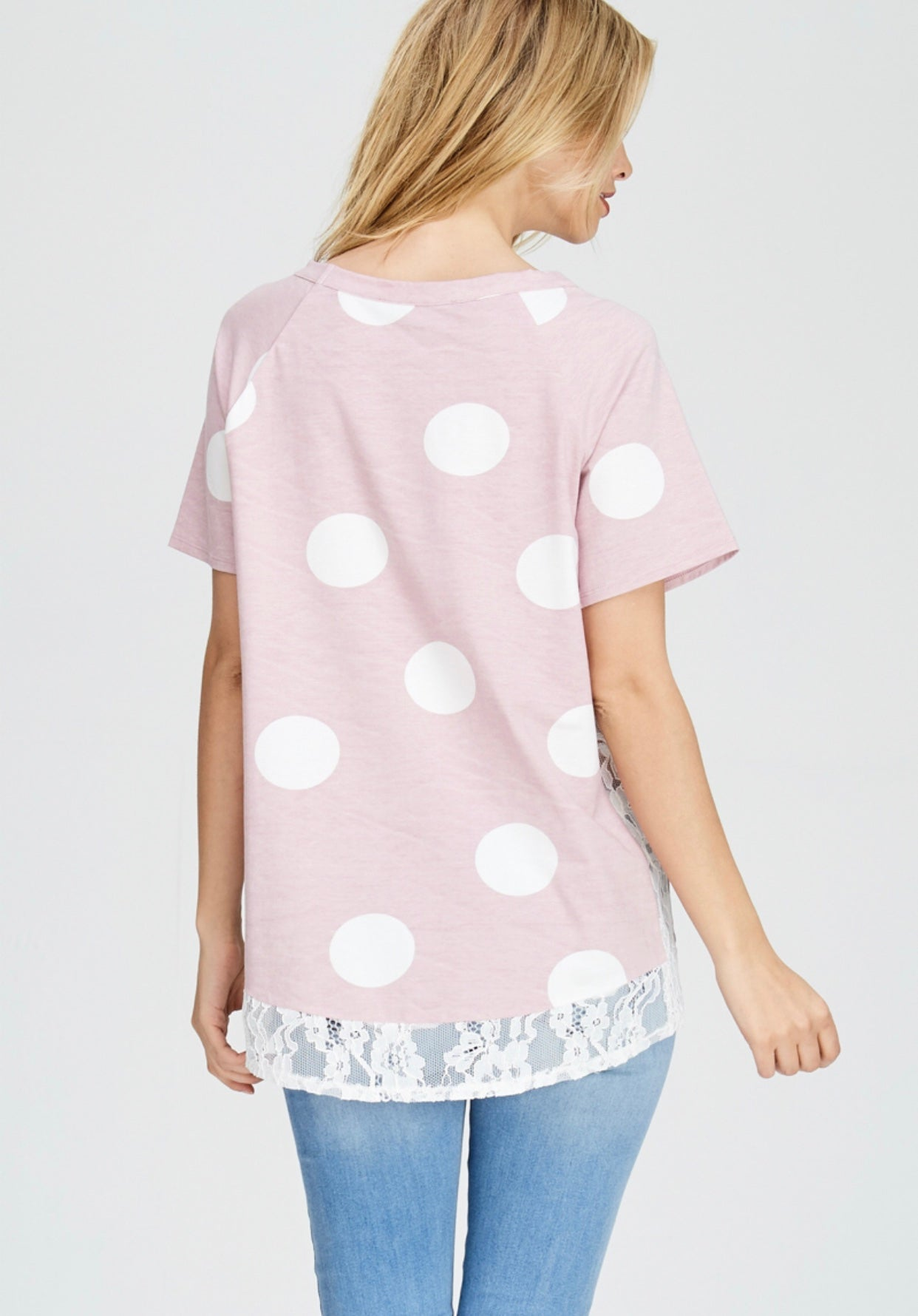 Pink Polka Dot Top with Lace