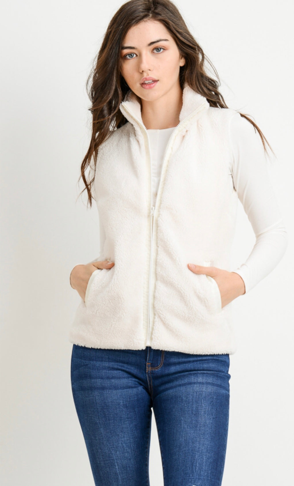 Ivory Fleece Zipper Vest