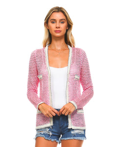 Pink Metallic Cardigan