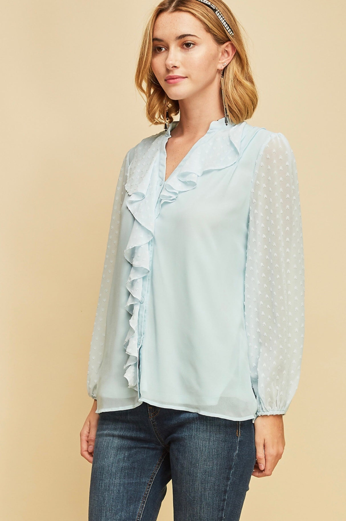 Light Blue Swiss Polka Dot Ruffle Blouse