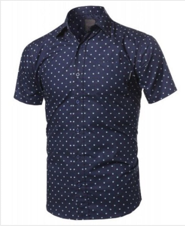 Navy Blue Printed Woven Shirt