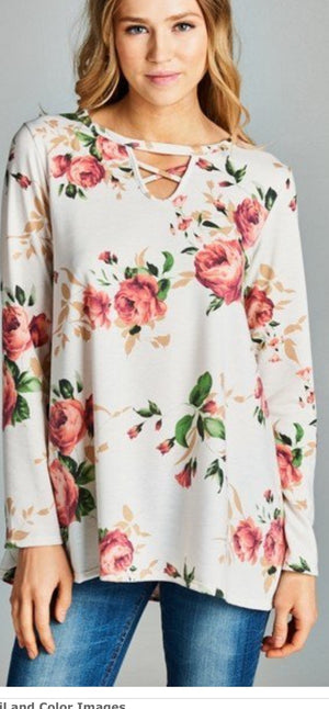 Ivory Floral Printed Criss Cross Top