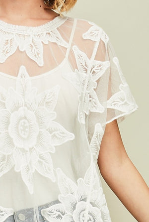 Off White Mesh Top with Floral Embroidered Detail