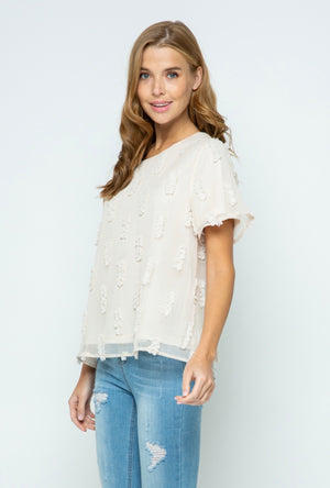 Belle Cream Textured Blouse