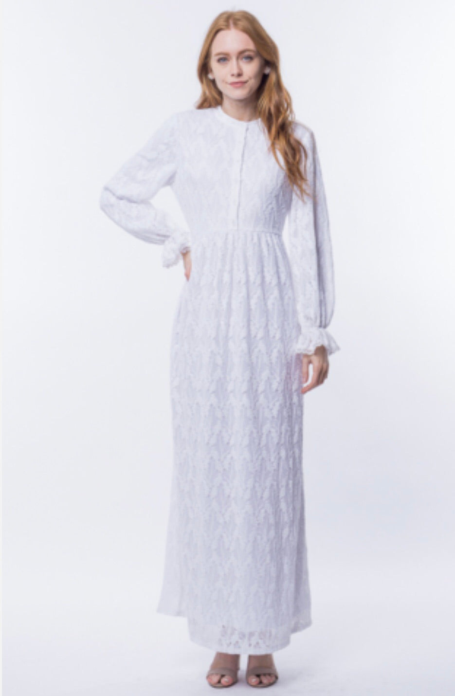 White Full Lace Maxi Dress