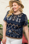Navy Elegant Embroidered Top