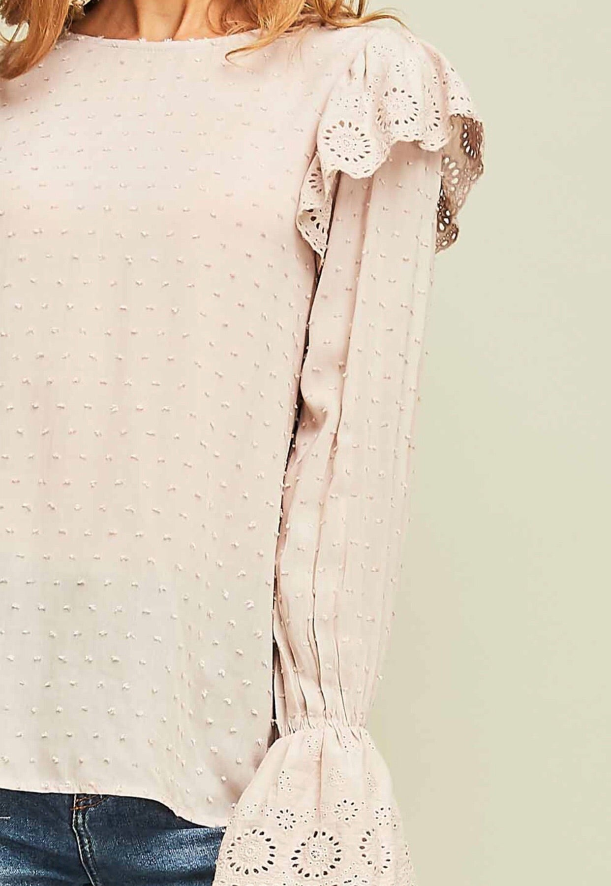Almond Dotted Swiss Eyelet Top