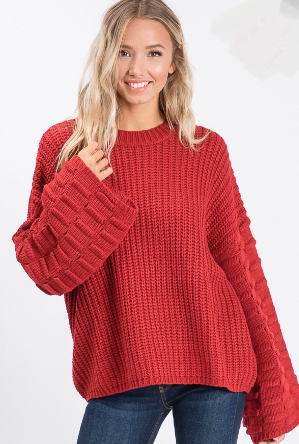 Red Cozy Sweater with PomPom Sleeve