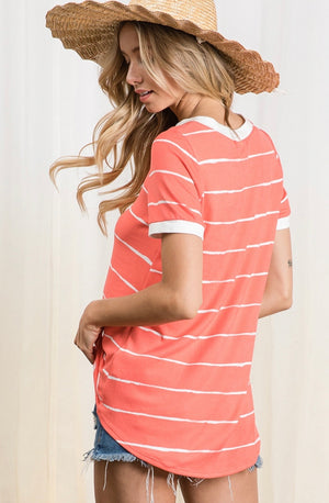 Soft Salmon Striped Top