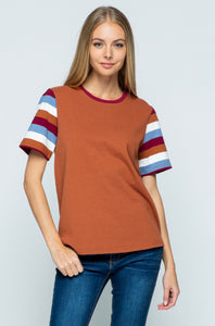 Burnt Orange Stripe Sleeve Tee Shirt