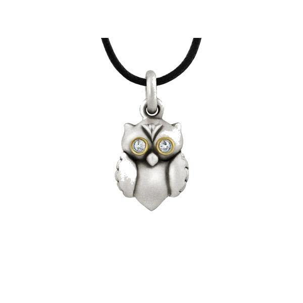 Owl Pendant in Sterling Silver, Gold, Diamonds