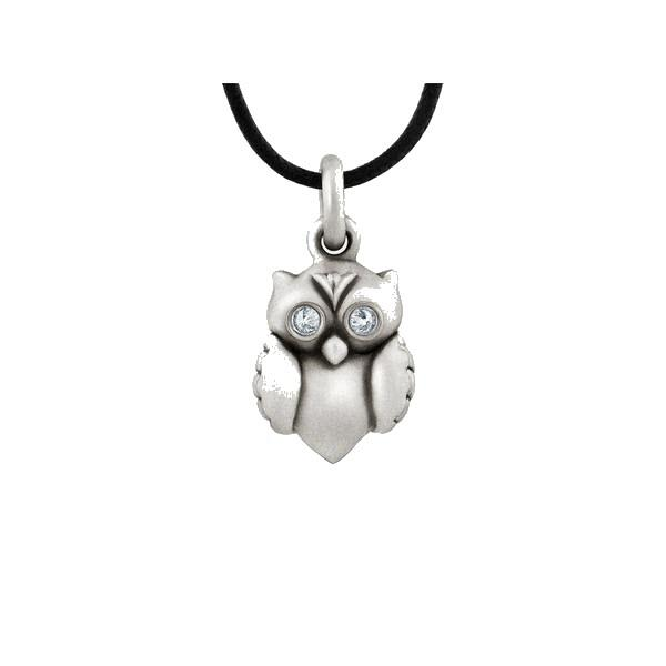 Pure Elegance Sterling Silver and Diamond Owl Pendant