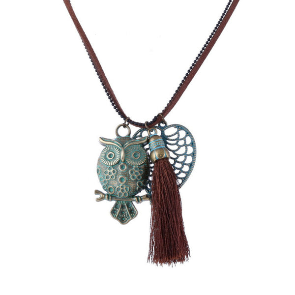 BoHo-Chic Owl Bronze Charm Necklace