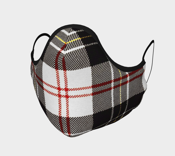 Black, Red, White Tartan Cotton Sateen Face Cover - A Circus of Light