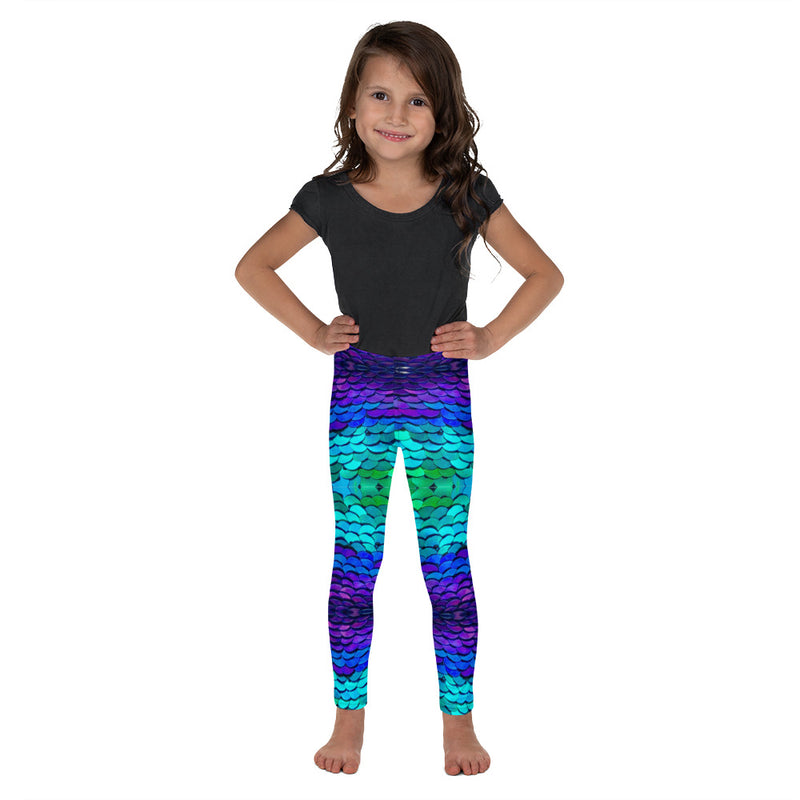Mermaid Kid's Leggings - A Circus of Light Super soft and cozy, colorful and unique leggings for kids. Mermaid scales leggings, in purple, turquoise and green, sequin scales, opaque, polyester/spandex, microfiber yarn, stretch, elastic waistband, sublimation inks, most comfortable kids leggings, most colorful kids leggings, comfortable kids leggings, leggings for kids, kids fashion leggings, kids yoga pants, kids gym leggings, kids workout leggings, kids sports leggings, kids leggings