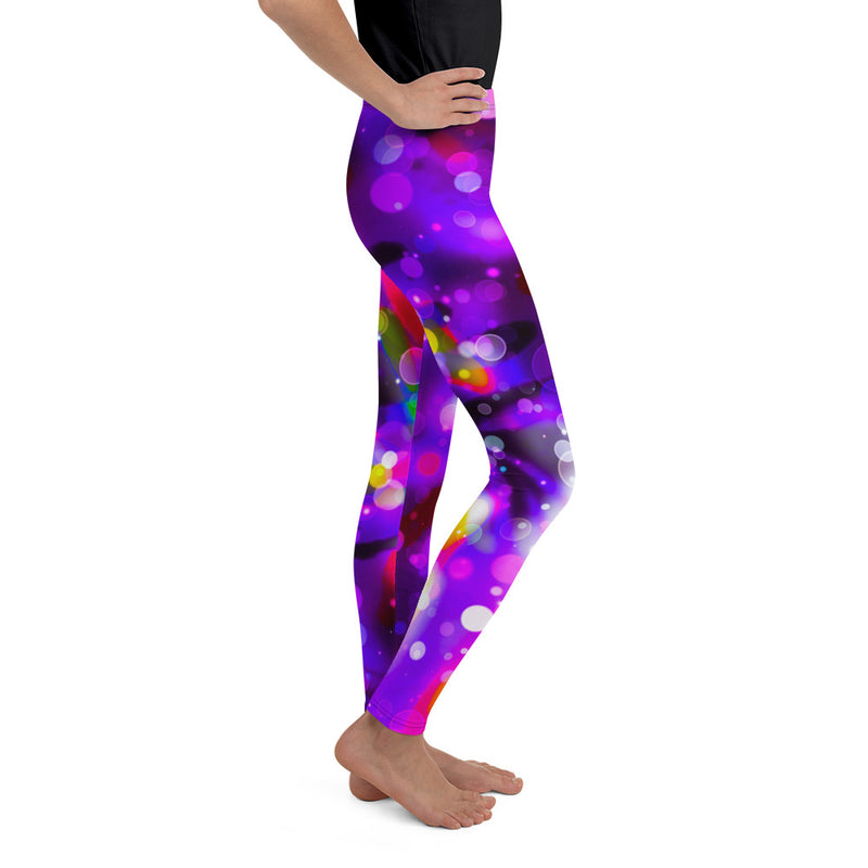 colorful, soft, cozy, unique patterns, quality polyester spandex kids youth teen leggings a circus of light