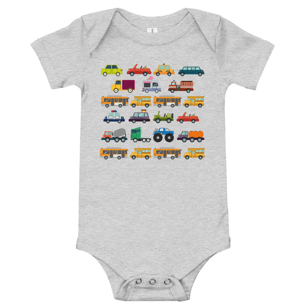 Cars, Trucks, Buses Baby One Piece - A Circus of Light