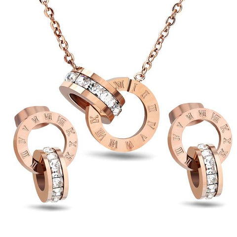 rose gold roman numerals jewelry set