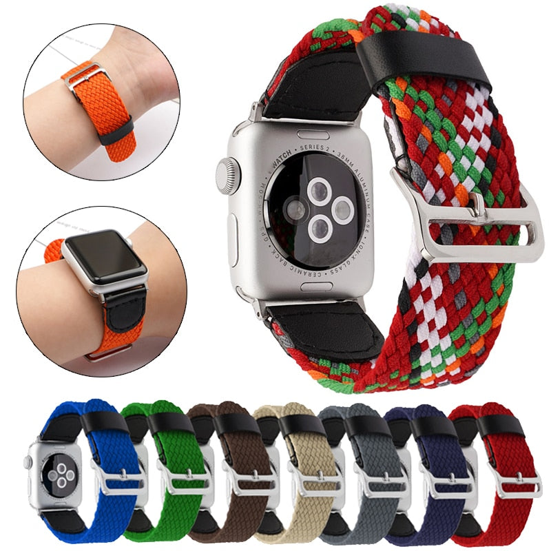 Braided Loop for Apple Watch Band Series 6 5 4 FABRIC Nylon Belt Bracelet iWatch 38mm 40mm 42mm 44mm Strap Sport Loop Wristband |Watchbands|