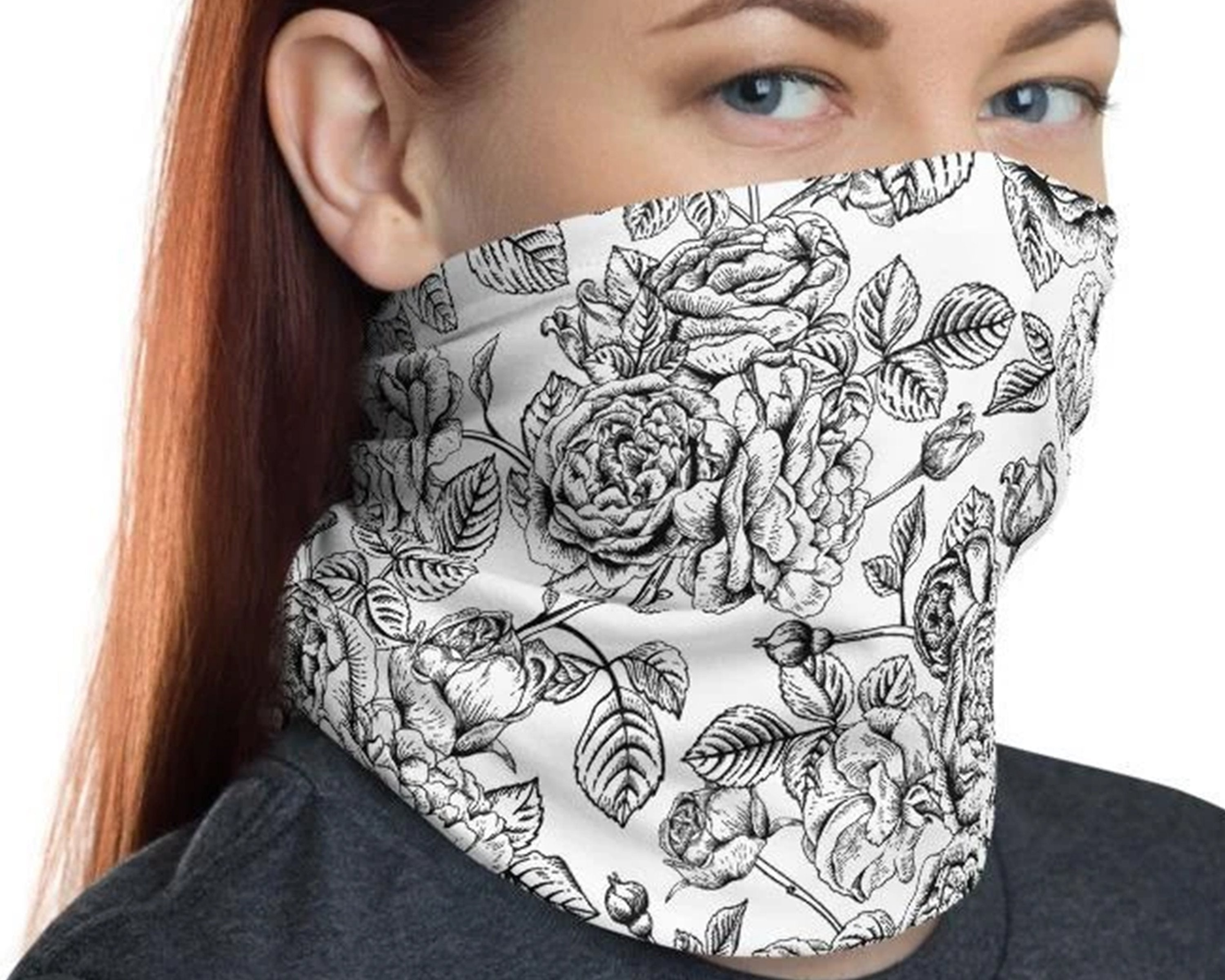 Floral Bandanas Balaclavas for Women Men Seamless Rave Face Cover Neck Gaiter Headwrap Scarf for Dust Outdoors Sports