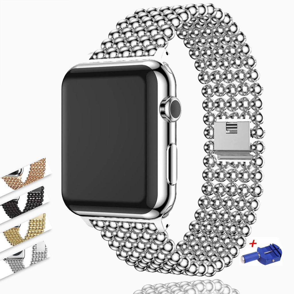 Accessories Silver / 38mm / 40mm Apple Watch Series 6 5 4 3 2 Band, Minimal Stainless Steel Metal, 38mm, 40mm, 42mm, 44mm - US Fast Shipping