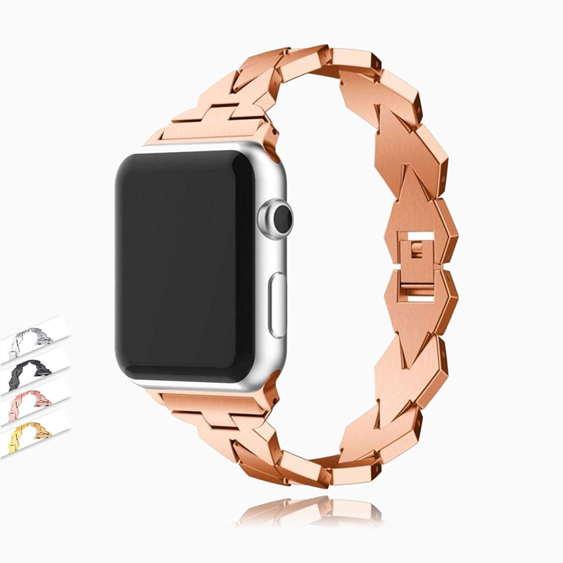 Watches Apple Watch rose gold Band, Diamond shape Stainless Steel Strap, link bracelet watchband, Series 5 4 3 38/40mm 42/44mm  - USA Fast Shipping