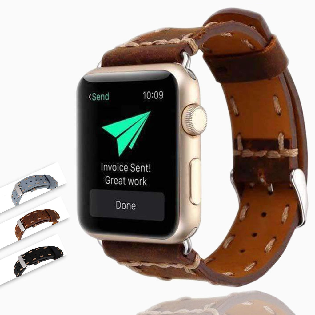 Watches Vintage Style Leather Strap for Apple Watch Band Series 6 5 4 3 Men Women Handmade Stitched tooled iWatch 38/40mm 42/44mm Watchbands Unisex