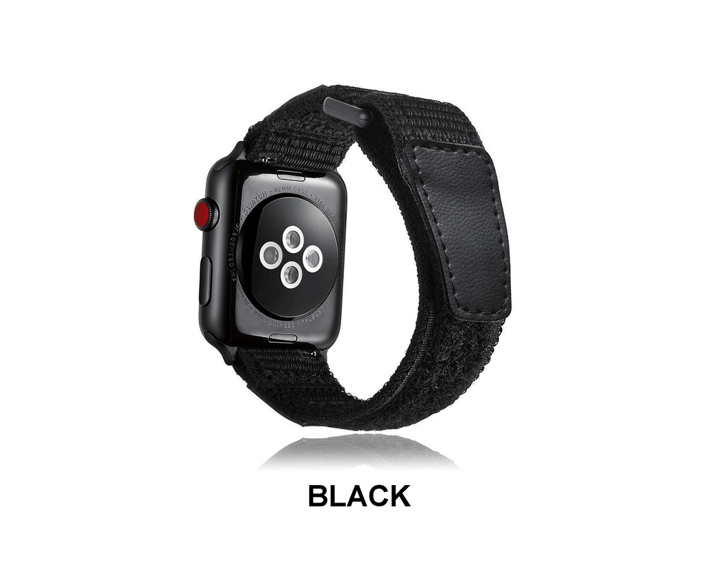 Watches Apple Watch Series 5 4 3 2 Band, black Leather Sport Loop Woven Nylon Breathable wrist band belt, 38mm, 40mm, 42mm, 44mm - US Fast Shipping