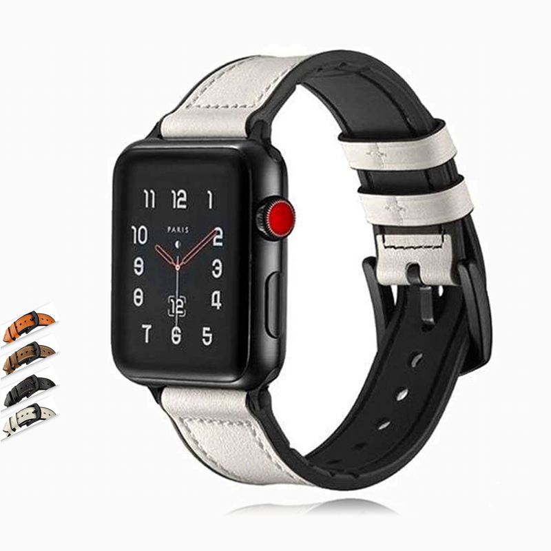 Watches Apple Watch Series 5 4 3 2 Band, Leather over Silicone Apple watch band strap 38mm, 40mm, 42mm, 44mm - US Fast Shipping