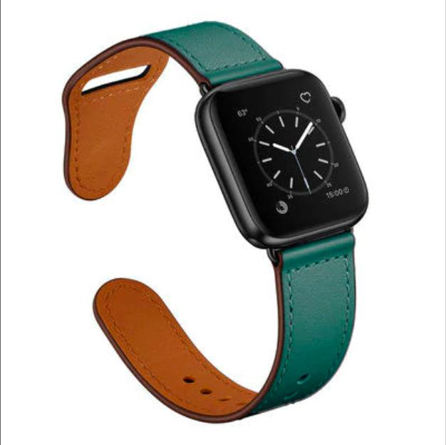 Apple Green/Black adapter / 38-40mm Series 54321 Faux Leather Strap for pulseira apple watch band 42mm 38mm 40mm 44mm sports high-quality correa for apple iWatch bracelet 5/4/3/2 belt
