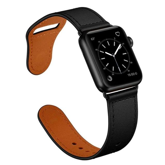 Apple Black/Black adapter / 38-40mm Series 54321 Faux Leather Strap for pulseira apple watch band 42mm 38mm 40mm 44mm sports high-quality correa for apple iWatch bracelet 5/4/3/2 belt