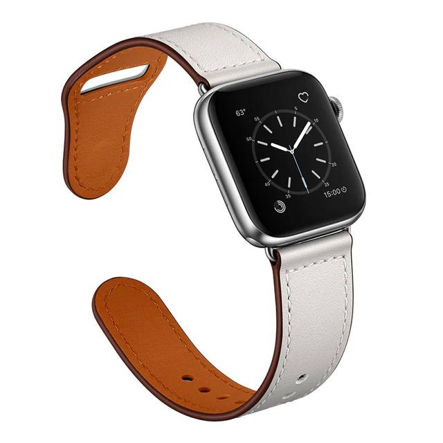 Apple White/Silver adapter / 38-40mm Series 54321 Faux Leather Strap for pulseira apple watch band 42mm 38mm 40mm 44mm sports high-quality correa for apple iWatch bracelet 5/4/3/2 belt