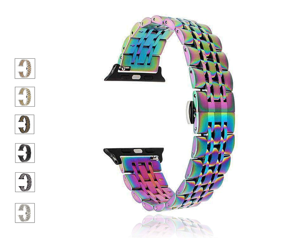 Apple High Quality Steel Link Strap, Apple Watch Band Series 6 5 4 Men Women Butterfly Buckle Wristband iWatch 38/40mm 42/44mm Watchbands Unisex