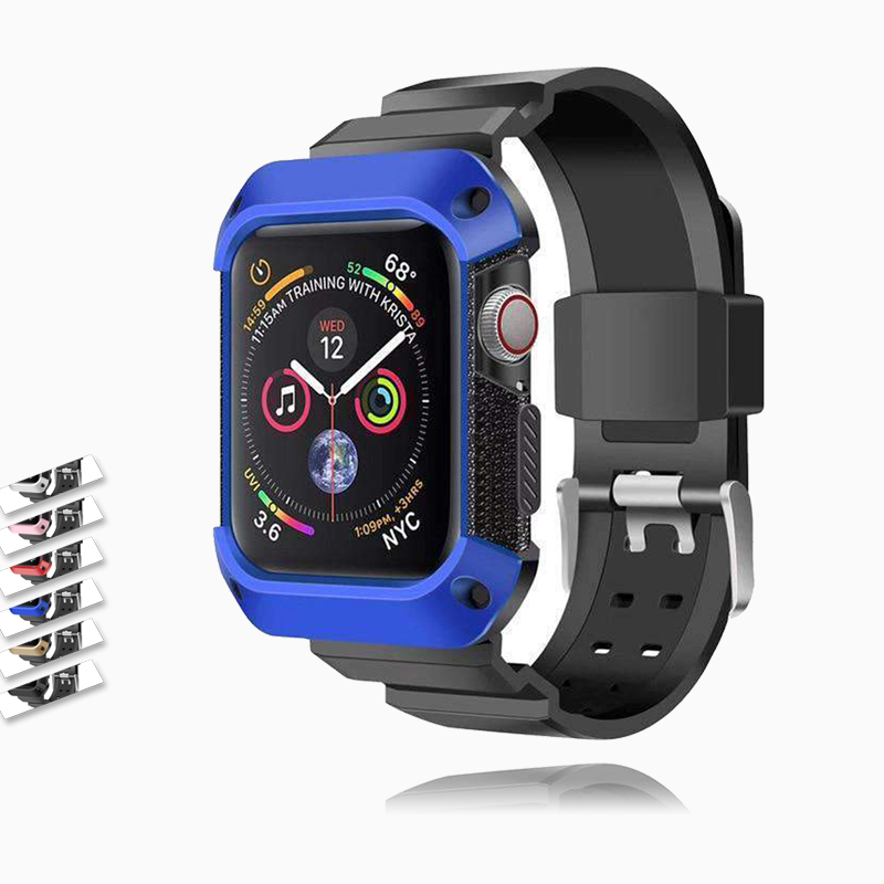 Apple Apple Watch band Sport Case strap silicone waterproof For  44mm 40mm iwatch Series 4 correa Rugged TPU screen Protective cover & bracelet wrist belt - US Fast Shipping